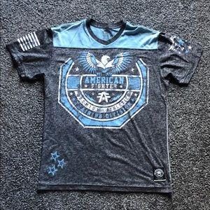 Dark grey and light blue American Fighter T-shirt